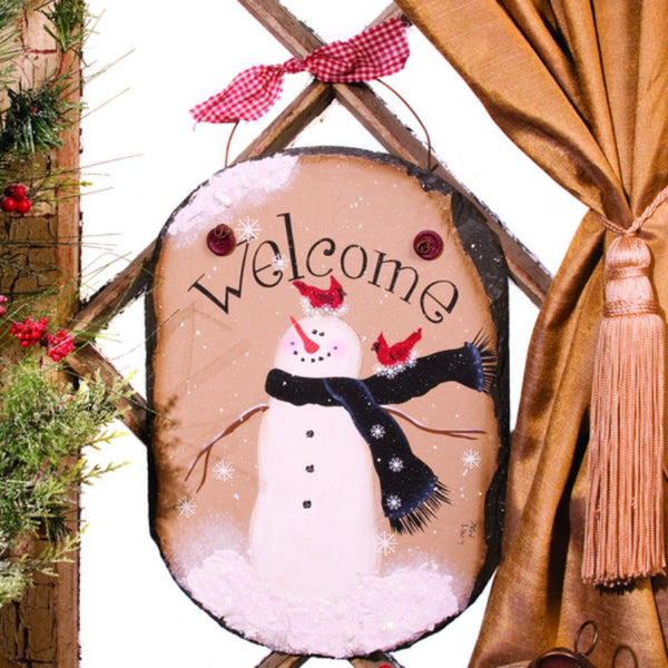 Snowflake Snowman Nest Welcome Slate X45010