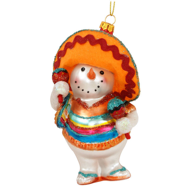 Snowman Hombre with Maracas Glass Ornament 1177686