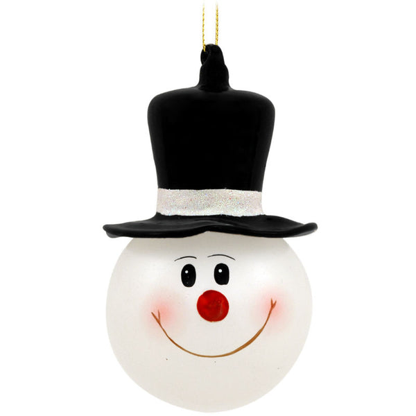 Snowman In Top Hat Glass Ornament 1131868