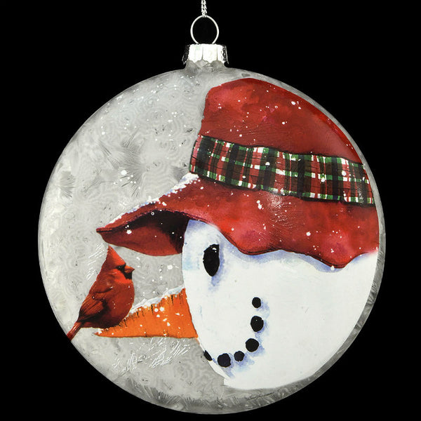 Snowman with Red Hat and Cardinal Ornament 1200180