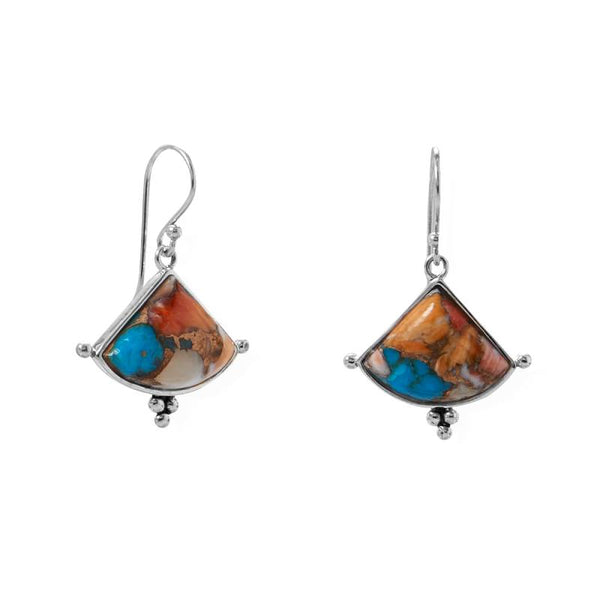 Spiny Oyster and Turquoise Triangle Earrings 66470