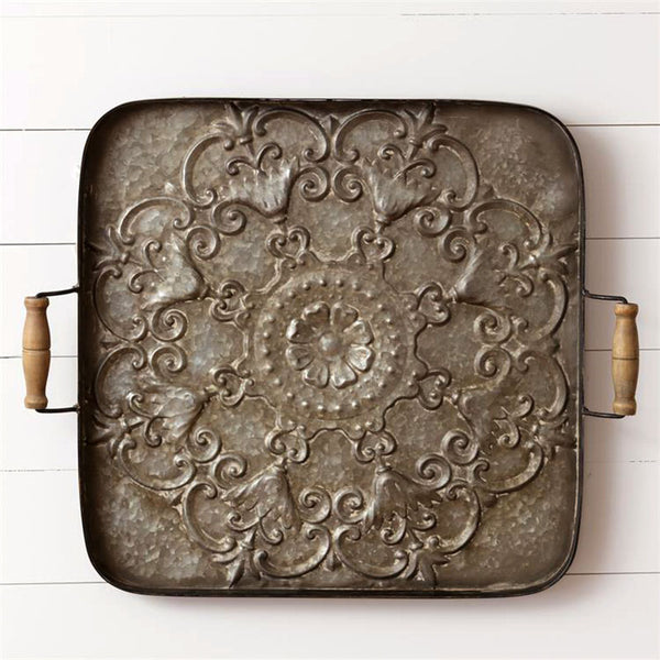 Square Galvanized Flower Serving Tray 8T1419