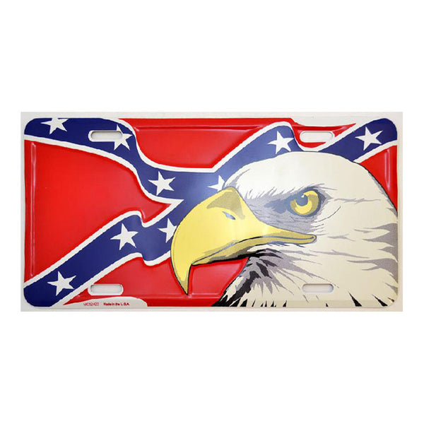 Stars and Bars Flag Eagle License Plate LP-8895