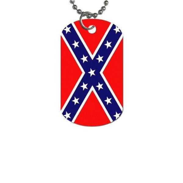 Stars and Bars Flag Dog Tag Necklace CK2113