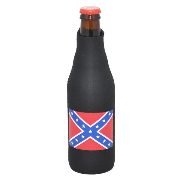 Stars and Bars Flag Zipper Bottle Koosie CN-3256