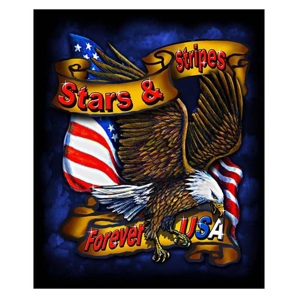 Stars and Stripes Eagle Fleece Blanket BL-0706