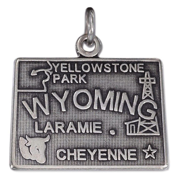 State of Wyoming Sterling Silver Charm 74369-WY