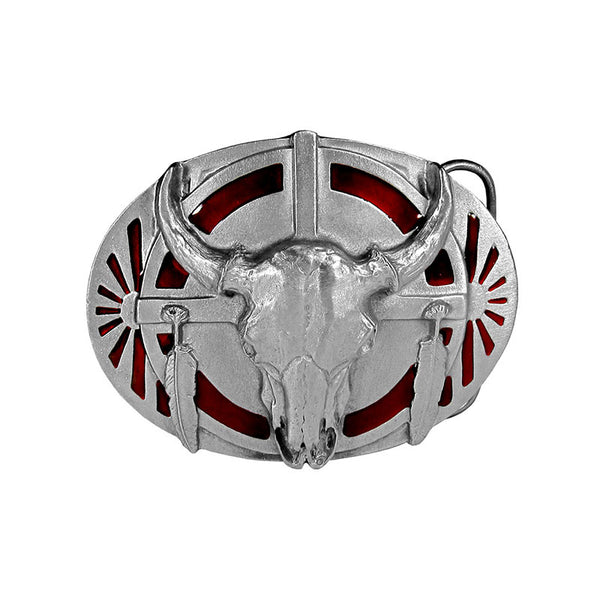 Steer Skull Enamel Belt Buckle U-40