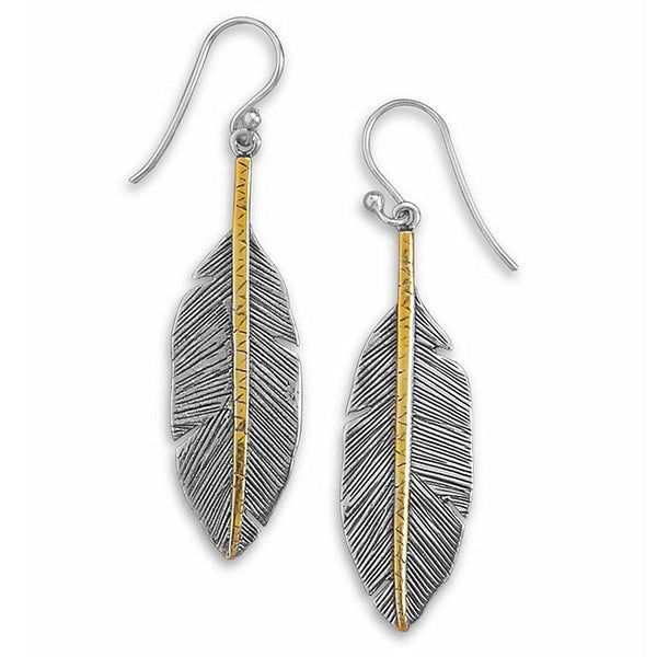 Sterling Silver & Gold Two-Tone Feather Earrings 65136