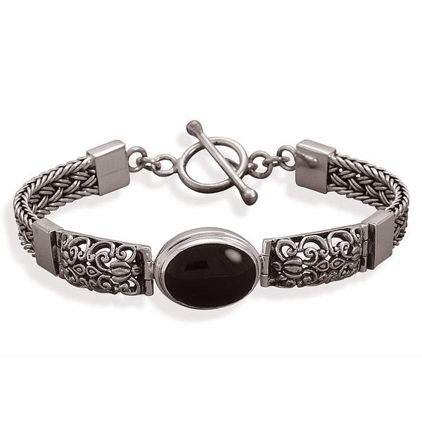 Sterling Silver Oval Black Onyx Filigree Toggle Bracelet 22565