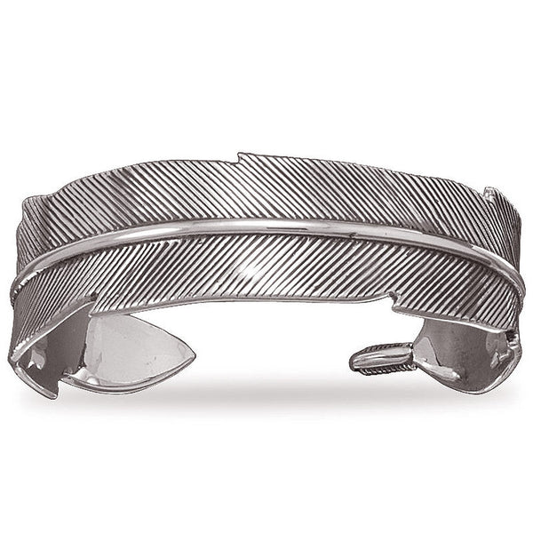Sterling Silver Oxidized Feather Pattern Cuff Bracelet 23112