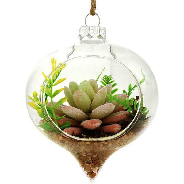 Succulent Glass Teardrop Ornament 1209368