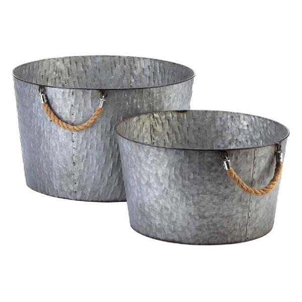 Textured Galvanized Metal Tubs 10018861