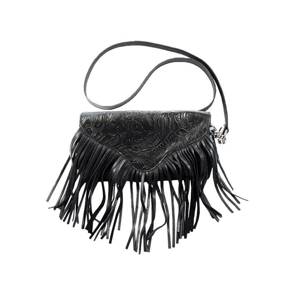 Tooled Black Leather Cross Body Fringe Purse LW-94