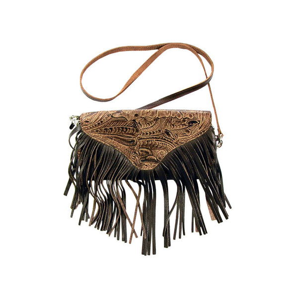 Tooled Brown Leather Cross Body Fringe Purse LW-93