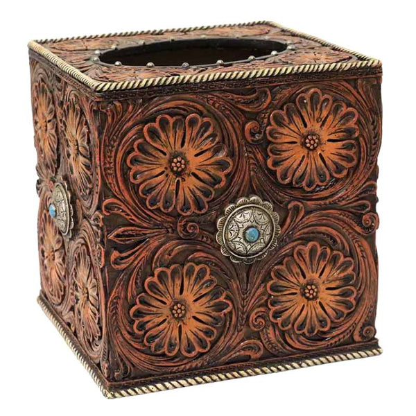 Tooled Flowers and Conchos Tissue Box Cover DEC-15033