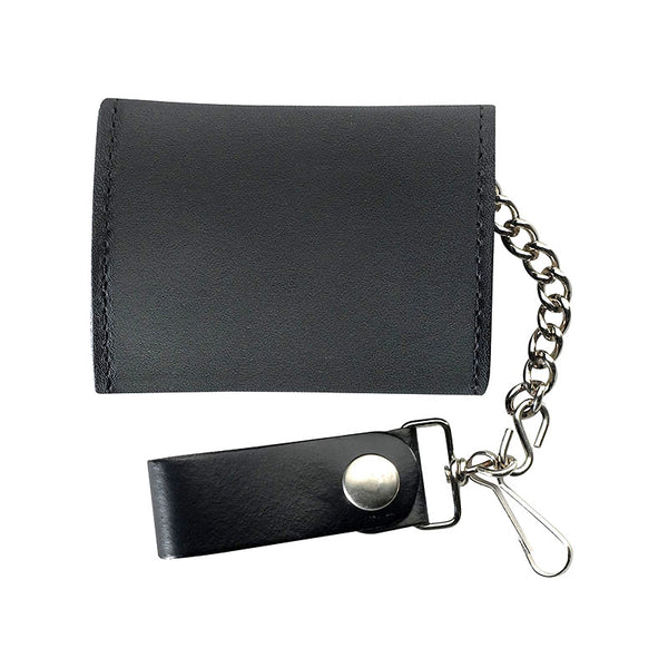 Trifold Black Leather Bikers Wallet with Chain LW-2