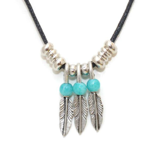 Triple Feather Beaded Turquoise Necklace N-2279