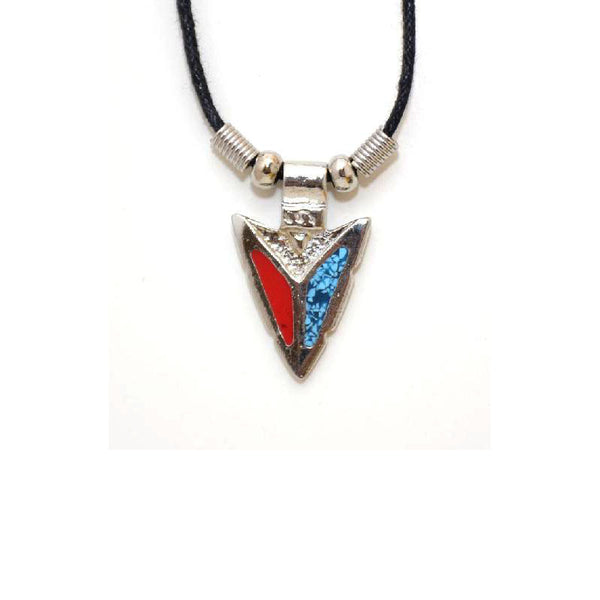 Turquoise and Coral Arrowhead Necklace N-2249