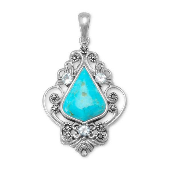 Turquoise Blue Topaz and Marcasite Pendant 74120