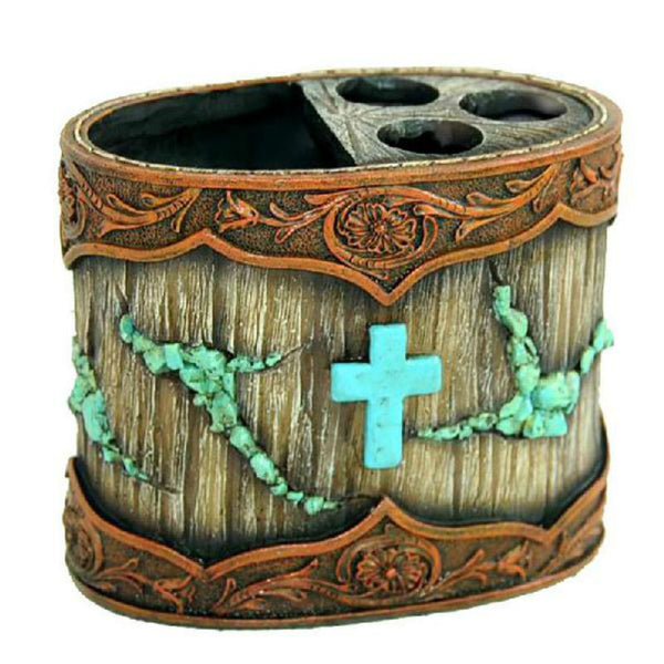 Turquoise Cross Toothbrush Holder RSM-1871