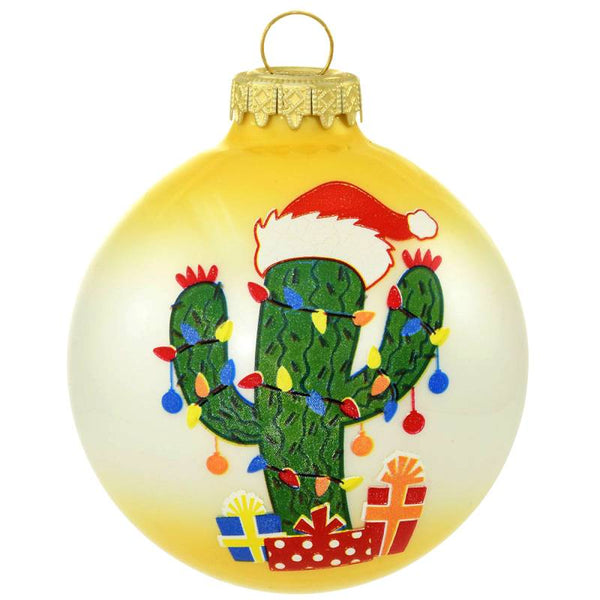 Two Tone Christmas Cactus Glass Ornament 1207488