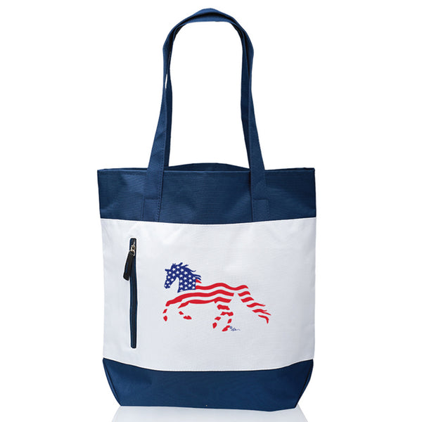 USA Flag Horse Canvas Tote Bag TOTE-640