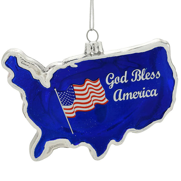 USA Shaped Glass Ornament 1180691