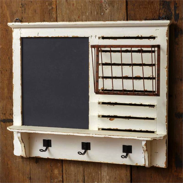 Vintage Chalkboard Message Center with Coat Hooks 8W1998