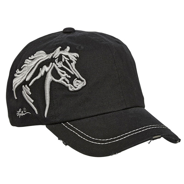 Vintage Embroidered Black Horsehead Cap CAP-113-BLK