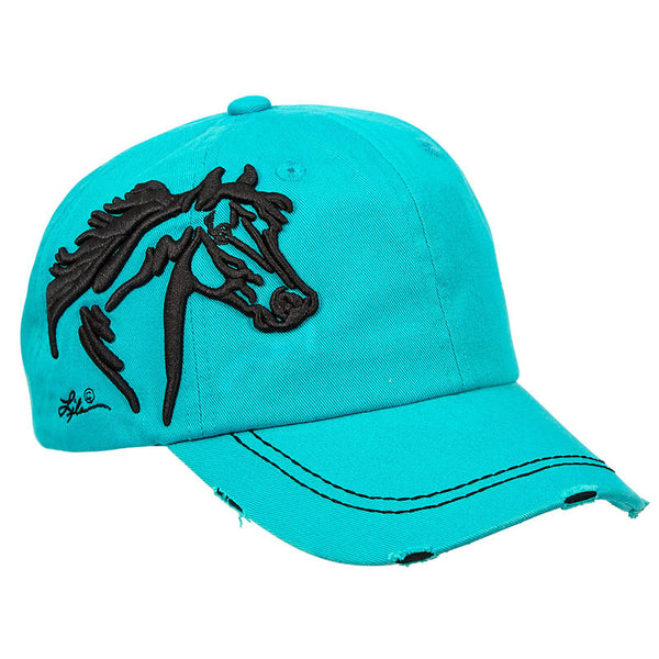 Vintage Embroidered Turquoise Horsehead Cap CAP-113-TQ
