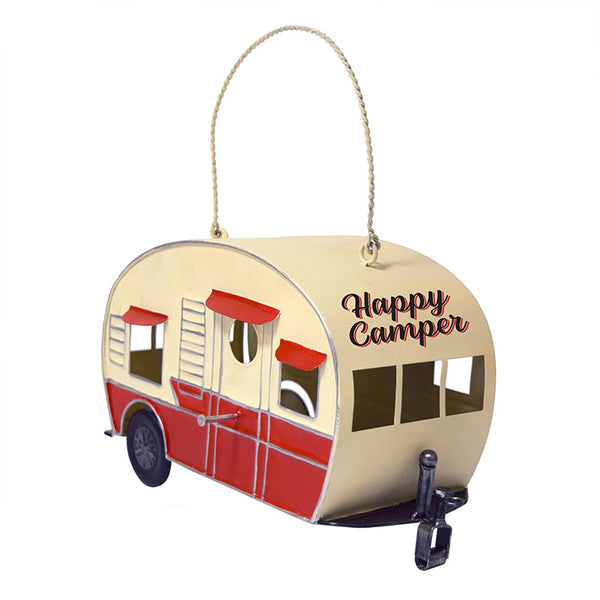 Vintage Red & White Camper Trailer Birdhouse 2636
