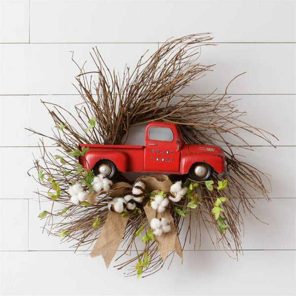 Vintage Red Pickup Farmhouse Wreath 8F6345