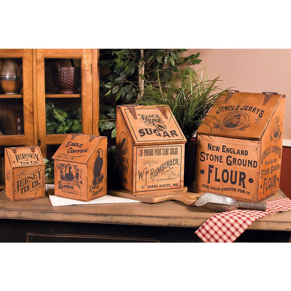 Vintage Wooden Advertising Canisters 68206
