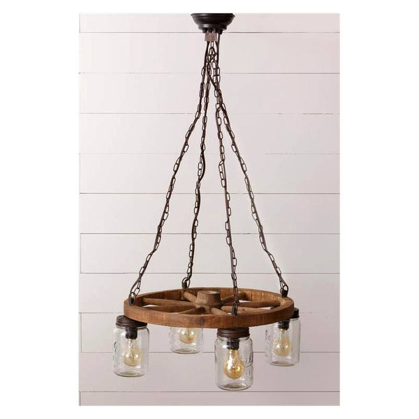 Wagon Wheel and Mason Jars Hanging Pendant Lamp 8L8771