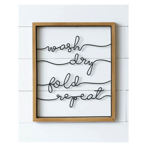 Wash Dry Fold Repeat Framed Word Art 8WH847