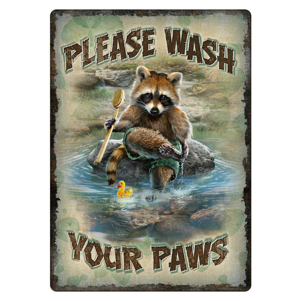 Wash Your Paws Raccoon Tin Sign 1436