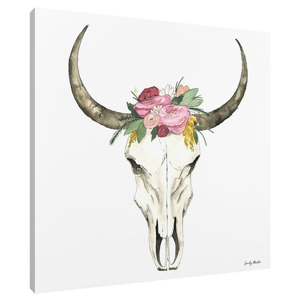 Watercolor Cow Horns Canvas Art Print 92406