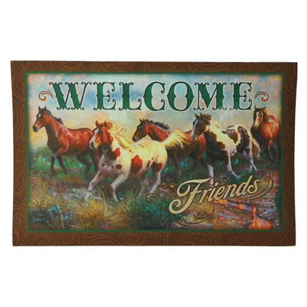 Welcome Friends Horses Door Mat 2500