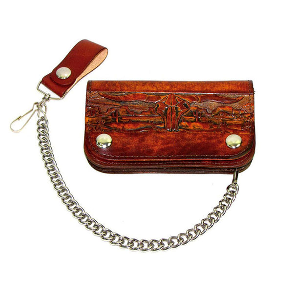 Western Scene Brown Leather Chain Wallet LW-500