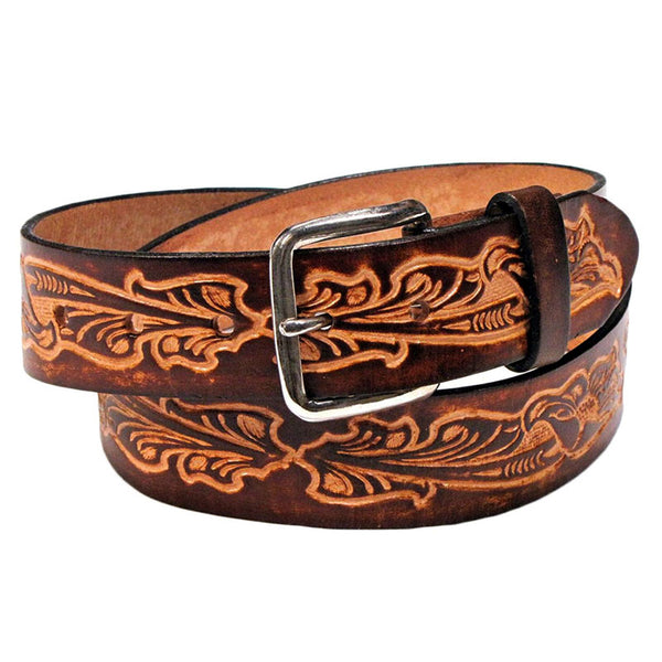 Western Scrolls Brown Leather Belt XM-5510