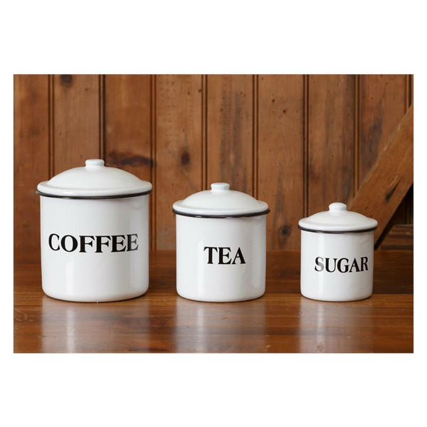 White Enamel Kitchen Canisters 8T1143