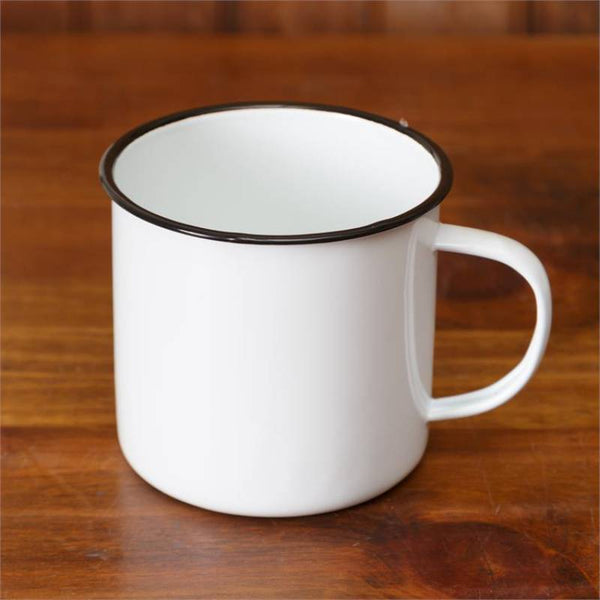 White Enamelware 20 Oz Beverage Mugs 8T1150
