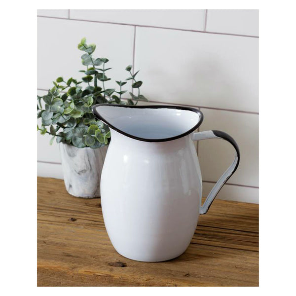 White Enamelware Beverage Pitcher 8T1527