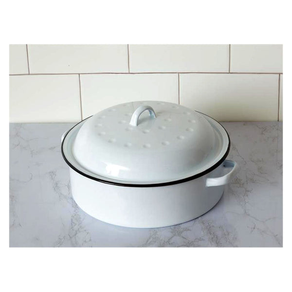 White Enamelware Covered Pot With Dimpled Lid 8T1776