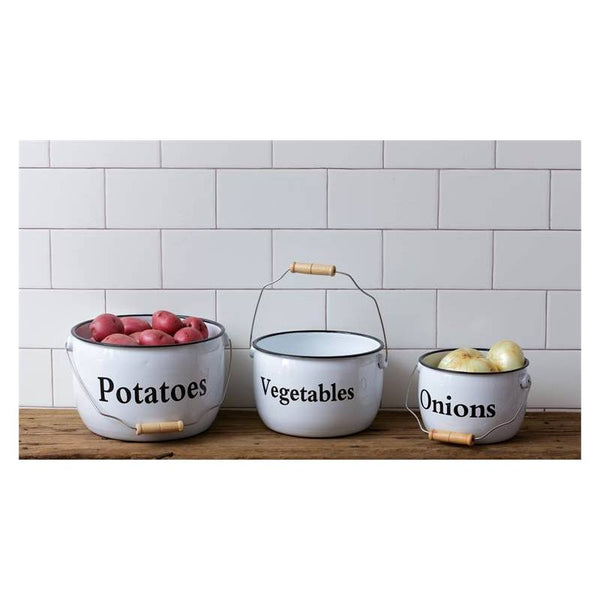 White Enamelware Potatoes Vegetables and Onions Pots Set 8T1602