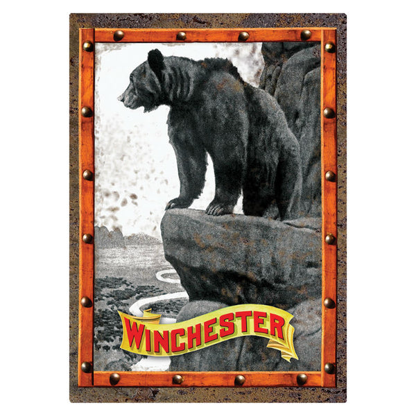 Winchester Bear On Cliff Tin Sign W1022