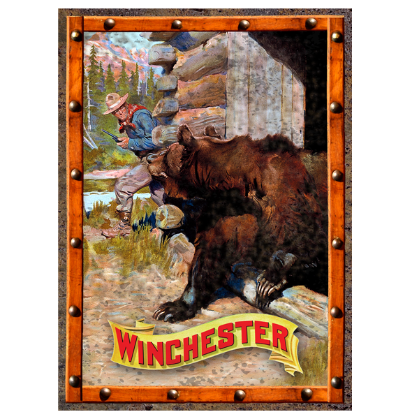 Winchester Cowboy and Grizzly Bear Tin Sign W1020