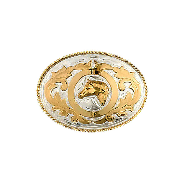 Winners Circle Horse Head German Silver & Gold Belt Buckle FR-848