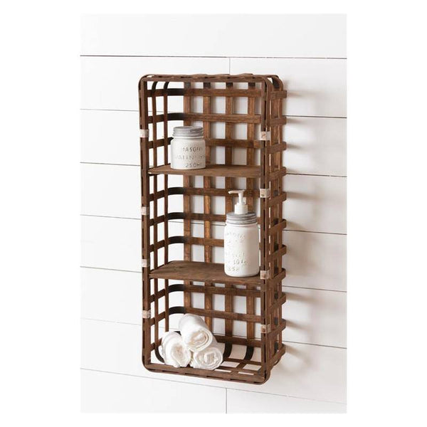 Wooden Basket Wall Shelf 8B2279